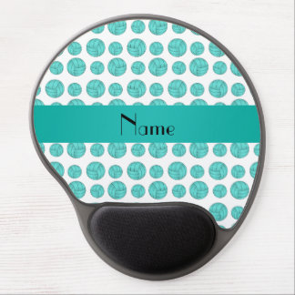 Custom name turquoise volleyball pattern gel mouse mats