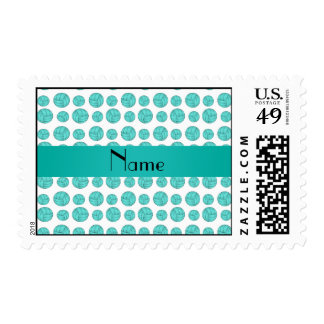 Custom name turquoise volleyball pattern postage stamp
