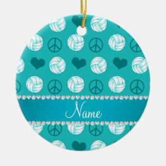 Custom name turquoise volleyballs peace hearts ceramic ornament