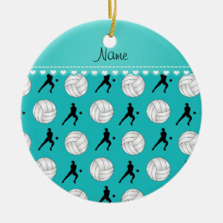 Custom name turquoise volleyballs silhouettes ceramic ornament
