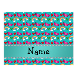 Custom name turquoise watermelons rainbows hearts postcards