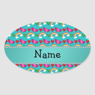 Custom name turquoise watermelons rainbows hearts stickers