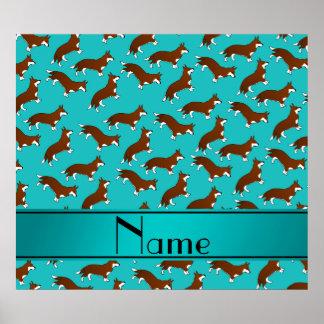 Custom name turquoise welsh corgi cardigan dogs poster