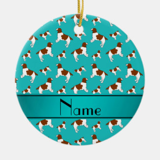 Custom name turquoise Welsh Springer Spaniel dogs Ceramic Ornament