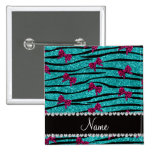 Custom name turquoise zebra stripes pink bows 2 inch square button