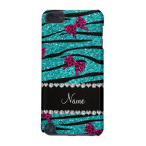 Custom name turquoise zebra stripes pink bows iPod touch 5G cover