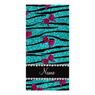 Custom name turquoise zebra stripes pink bows photo card
