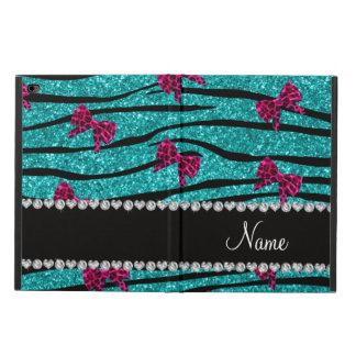Custom name turquoise zebra stripes pink bows powis iPad air 2 case