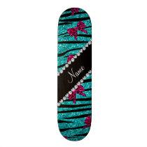 Custom name turquoise zebra stripes pink bows skateboard