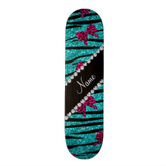 Custom name turquoise zebra stripes pink bows skateboard
