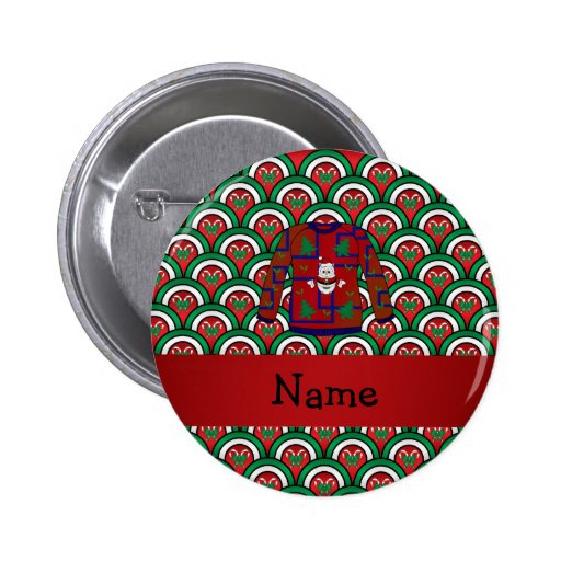 Custom name ugly christmas sweater candy canes pinback button