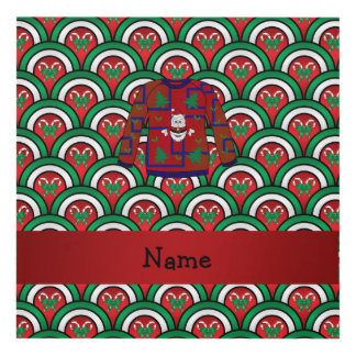 Custom name ugly christmas sweater candy canes panel wall art