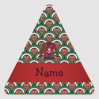 Custom name ugly christmas sweater candy canes triangle sticker