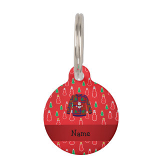 Custom name ugly christmas sweater red snowmen pet nametags