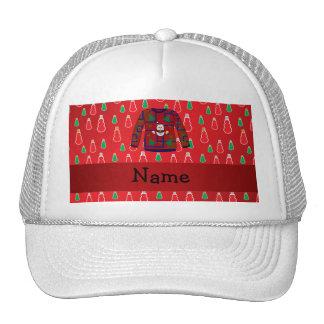 Custom name ugly christmas sweater red snowmen trucker hats