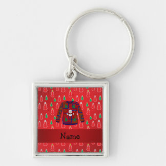 Custom name ugly christmas sweater red snowmen Silver-Colored square keychain
