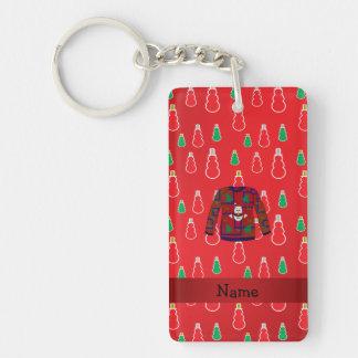 Custom name ugly christmas sweater red snowmen Double-Sided rectangular acrylic keychain