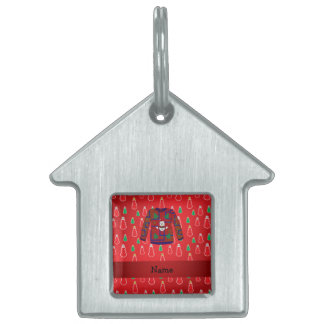 Custom name ugly christmas sweater red snowmen pet ID tag