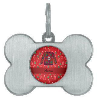 Custom name ugly christmas sweater red snowmen pet tag