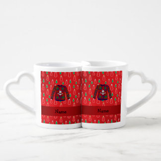 Custom name ugly christmas sweater red snowmen couples' coffee mug set