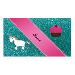 Custom name unicorn cupcake turquoise glitter Double-Sided standard business cards (Pack of 100)