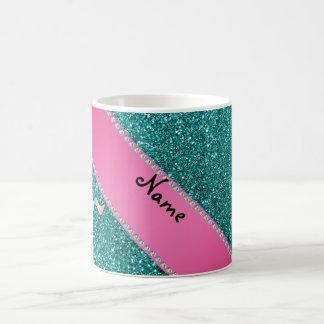 Custom name unicorn cupcake turquoise glitter coffee mug