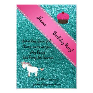 Custom name unicorn cupcake turquoise glitter personalized invite