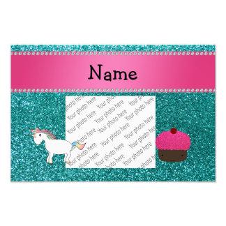 Custom name unicorn cupcake turquoise glitter photo art