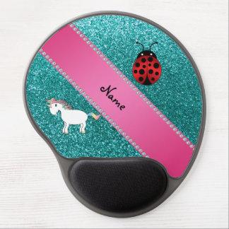 Custom name unicorn ladybug turquoise glitter gel mousepad