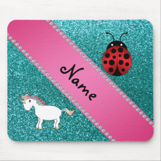 Custom name unicorn ladybug turquoise glitter mouse pad