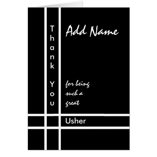 Custom Name - Usher Wedding Thank You Card