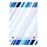 [ Thumbnail: Custom Name + Various Shades of Blue Stripes Stationery ]