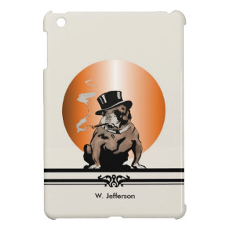 Custom Name Vintage Bulldog with Cigar and Top Hat Cover For The iPad Mini
