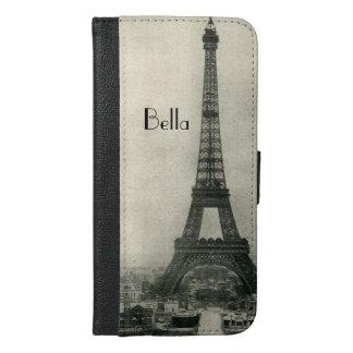 Custom Name Vintage Eiffel Tower iPhone 6/6s Plus Wallet Case