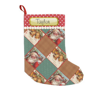 Custom Name Vintage Santa Small Christmas Stocking