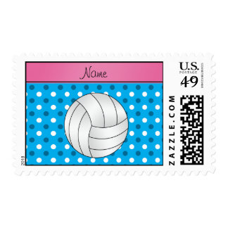 Custom name volleyball blue dots pink stripe postage stamp