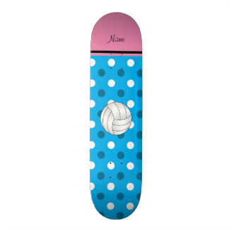 Custom name volleyball blue dots pink stripe skateboards