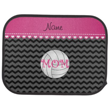Beach Themed Custom name volleyball mom black chevrons car mat
