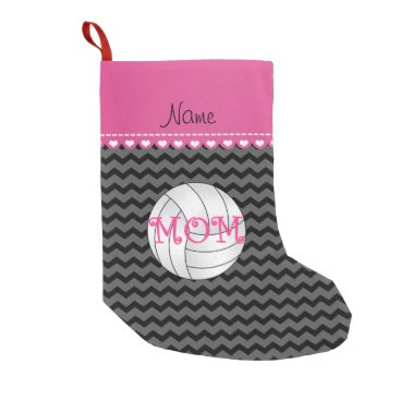 Beach Themed Custom name volleyball mom black chevrons small christmas stocking