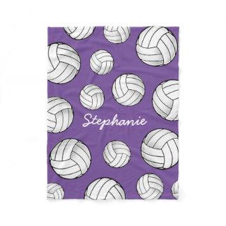Custom Name Volleyball Purple Fleece Blanket