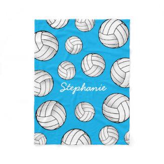 Custom Name Volleyball Turquoise Fleece Blanket