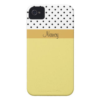 Custom Name Warm Yellow & White Black Polka Dots iPhone 4 Cover