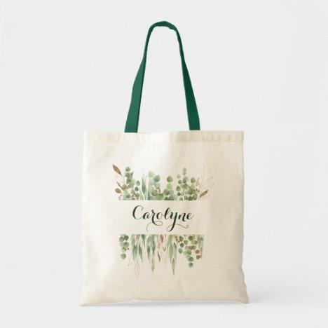 Custom Name Watercolor Eucalyptus Greenery Pretty Tote Bag
