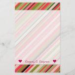 [ Thumbnail: Custom Name + Watermelon-Inspired Stripes Stationery ]