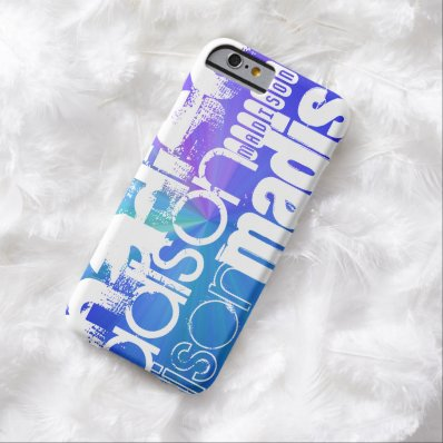 Custom Name; White & Abstract Purple, Green, Blue Barely There iPhone 6 Case