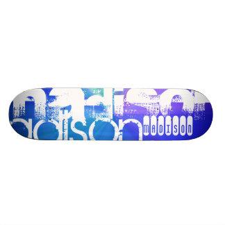 Custom Name; White & Abstract Purple, Green, Blue Skateboard Deck