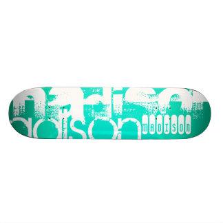 Custom Name, White and Neon Aqua Turquoise Skate Decks