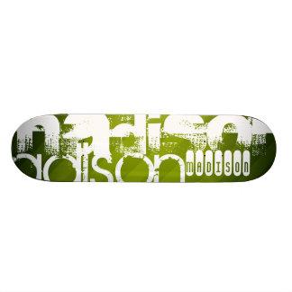 Custom Name; White and Olive Green Skate Deck