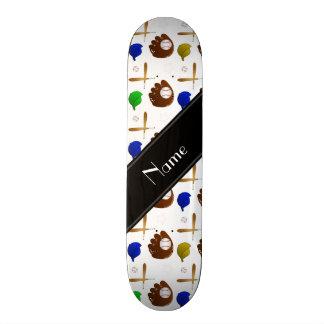 Custom name white baseball glove hats balls skateboards