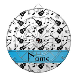 Custom name white black guitars music notes dart board